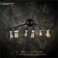 A1 LOFT Industrial Heavy Black Iron Chandelier Lamp Four Chandelier Cafe Hall Dedicated Chandelier In Foreign