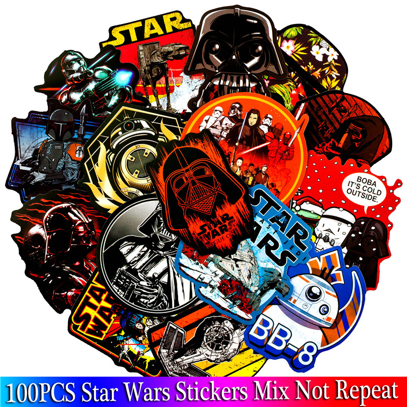 100PCS Star Wars Stickers Sets Movie Anime Character Game Sticker For Skateboard Guitar Luggage Laptop Cartoon Toy Sticker