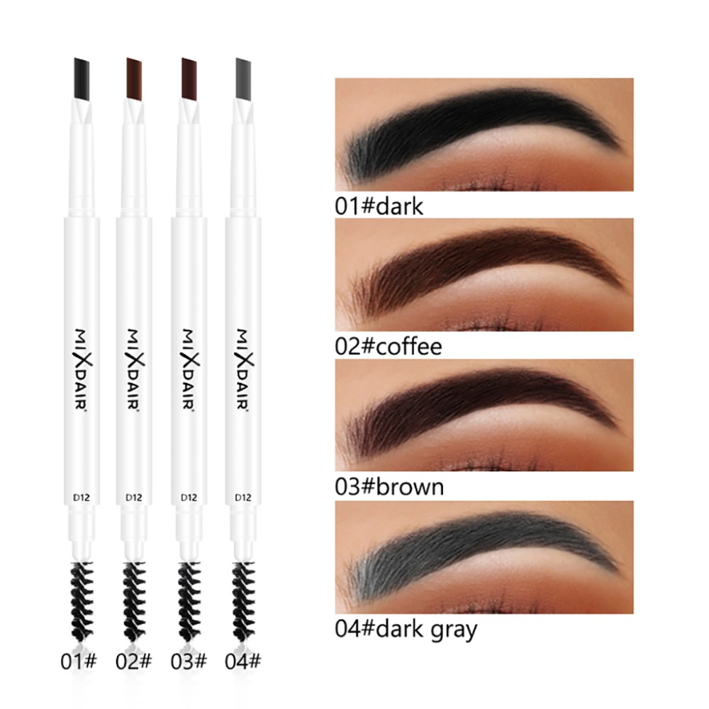 MIXDAIR eyebrow pencil dual ended white apperance beauty makeup drawing pen waterproof long lasting black coffee eyebrow MD007
