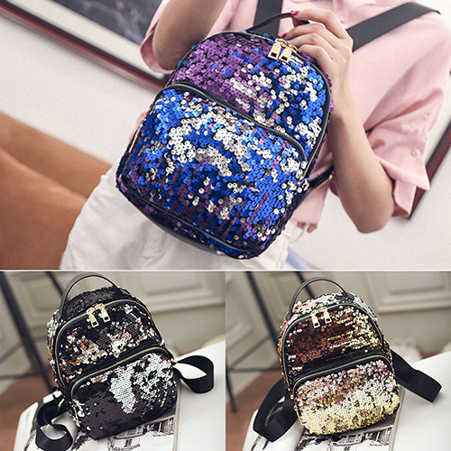Jetting 2017 New Arrival Women All-match Bag Pu Leather Sequins Backpack Girls Small Travel Princess Bling Backpacks 3 Colors #6