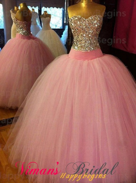 Real Photos Bridal Dress Puffy Sweetheart Lace Up Back Sweep Train Tulle  Pink Wedding Dress With Crystals Free Shipping GH13 0d1692785e47