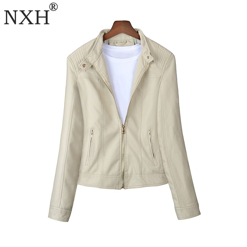 NXH 2018 Real photo spring and autumn High Quality Womens PU Leather jacket Ladies Slim Short Basic Zipper coat S M L XL