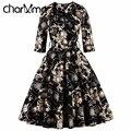 CharMma Винтаж 4XL 50 S Женщины Королевский Вечер Dress Элегантные Дамы Бал Выросло Высокой Талии Платье Весна Плиссированные Черный халат