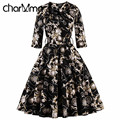 CharMma Vintage 4XL 50S Women Royal Evening Party Dress Elegant Ladies Ball Grown High Waist Vestido Spring Pleated Black Robe