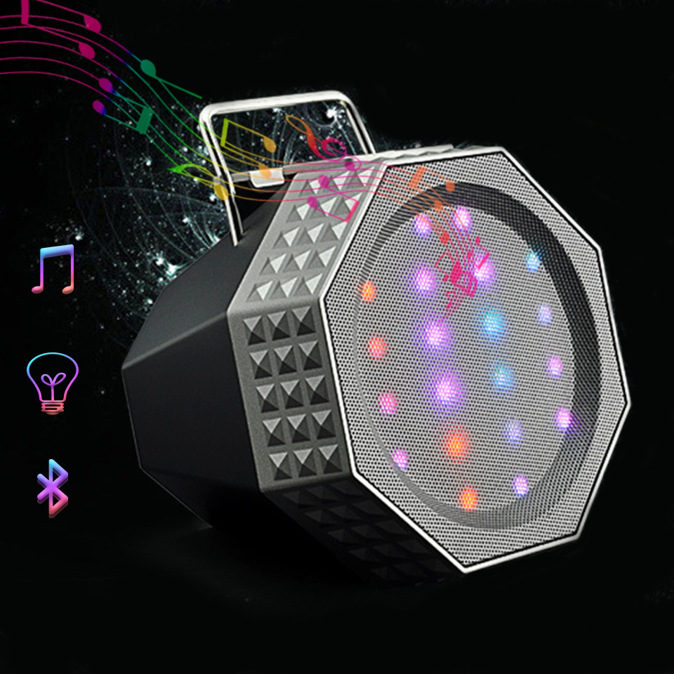 Wireless Mini LED Colorful Bluetooth Speaker Portable Mobile Phone Holder Subwoofer Bluetooth Sound Box Christmas Gifts Speaker