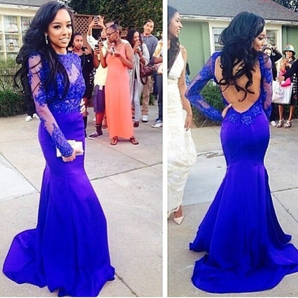 Fashion Mermaid Evening Dress Long Sleeve Royal Blue Party Open Back Celebrity Gown Applique O neck Special Occasion - Weddings & Events Collection store