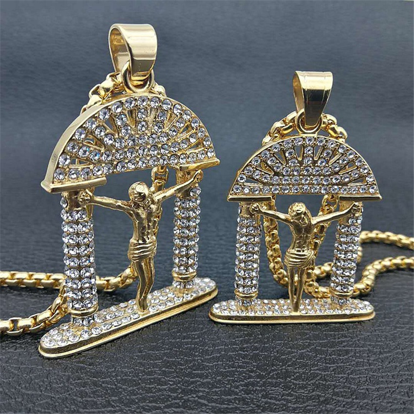 Hip Hop Jesus Christ Men Jewelry Necklace Iced Out Bling Gold Color Stainless Steel Cross Pendant Chain Necklaces For Man box chain 60cm simulated diamonds 70mm big pendant jesus pendant christ the redeemer bling hip hop mens necklace