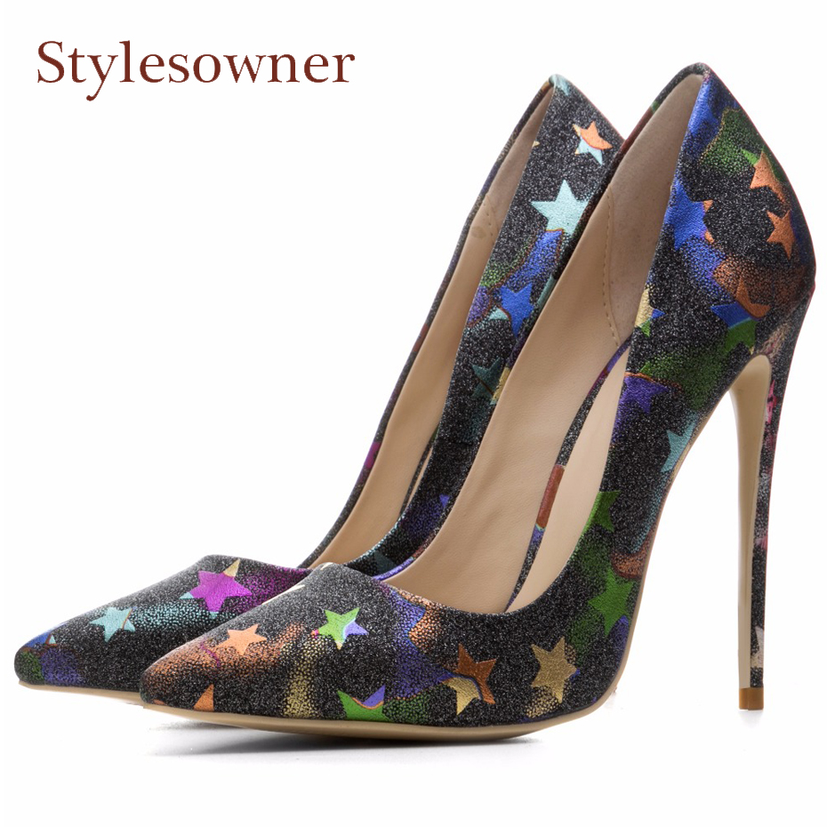 Stylesowner print star decoration wedding shoes women slip on shallow pointed toe shiny thin high heel pumps zapatos mujer red spring autumn women s low heel pumps flock plain pointed toe shallow slip on ladies casual single shoes zapatos mujer black