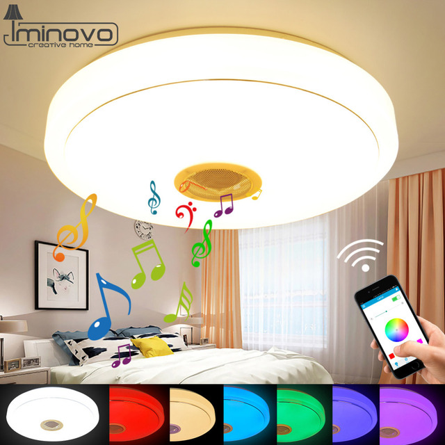 Mod Bluetooth Speaker Ceiling Incandescence Remote Control RGB LED Music Lamp Dimmable Alight Room Lighting Fixture Bedroom Acute.