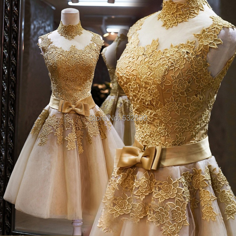 1692a537c7b Best Stunning Luxury Short Homecoming Pageant Gown Appliques Customized  Gold Lace short Prom Cocktail Party Dresses