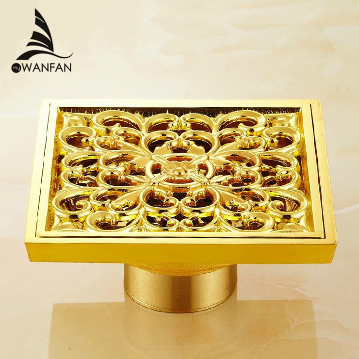 Drains 10x10cm Square Gold Brass Bath Shower Drain Strainer Floor Cover Balcony Deodorant Grate Waste Bathroom Drains DL6616 drains 10 10cm antique brass shower floor drain cover euro art carved bathroom deodorant drain strainer waste grate hj 8507s