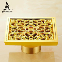 Free Shipping Bathroom Balcony Copper Deodorant Square Floor Drain Strainer Cover Sink Grate Waste Gold Color