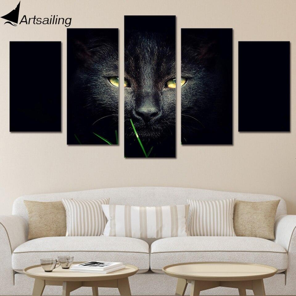 Peinture Chambre Hd Chat Sur Affiche Toile Imprimé D Décoration Noir yYb6m7vfgI