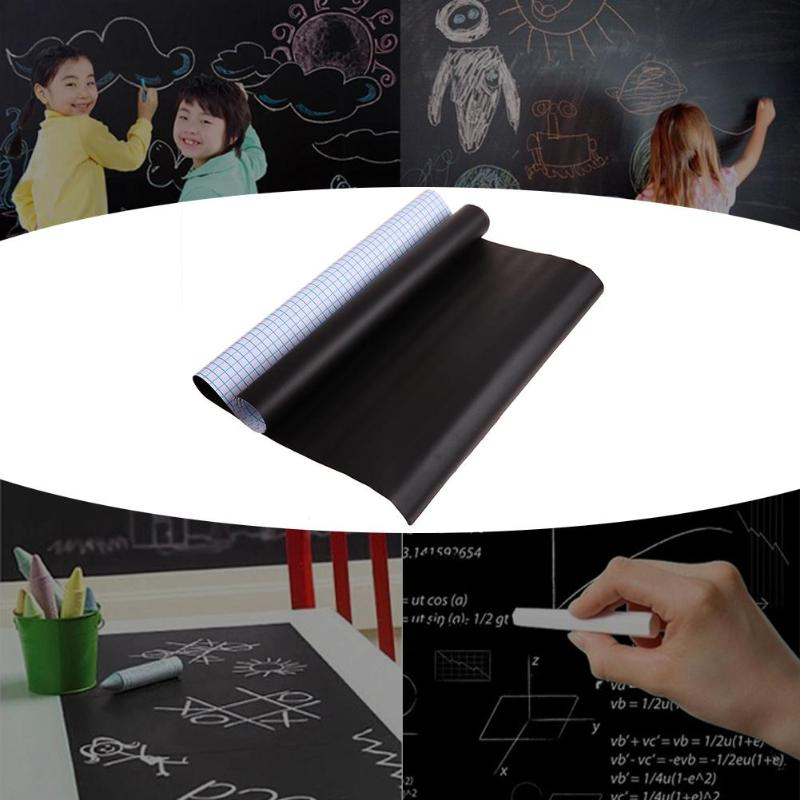 5*100cm PVC Waterproof Blackboard Sticker Movable Kid Graffiti Writing Board (Black) With 5xColorful Chalk Teaching Tool Supply