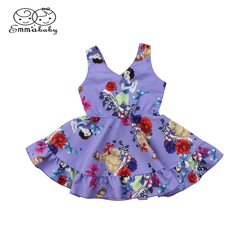 Emmababy Summer Toddler Kids Baby Flower Girl Kids Princess Cartoon Print Sleeveless Dress Snow White Floral Party Mini Dresses ems dhl free shipping toddler little girl s 2017 princess ruffles layers sleeveless lace dress summer style suspender