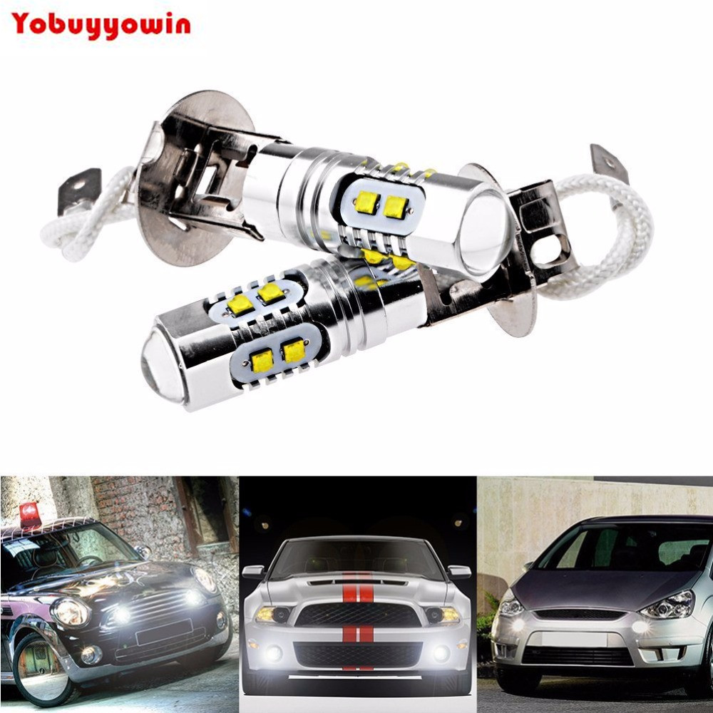 2pcs/Lot HighPower <font><b>H3</b></font> 50W <font><b>Cree</b></font> <font><b>Led</b></font> Chips Projector White <font><b>LED</b></font> Bulb For Car Daytime Running Driving Fog light image