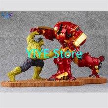 Ограниченное количество 2 шт./компл. Халк против Железного человека MK44 статуя отделка Живопись Смола Staue Lmitation Бронзовая статуя фигурка 34 см