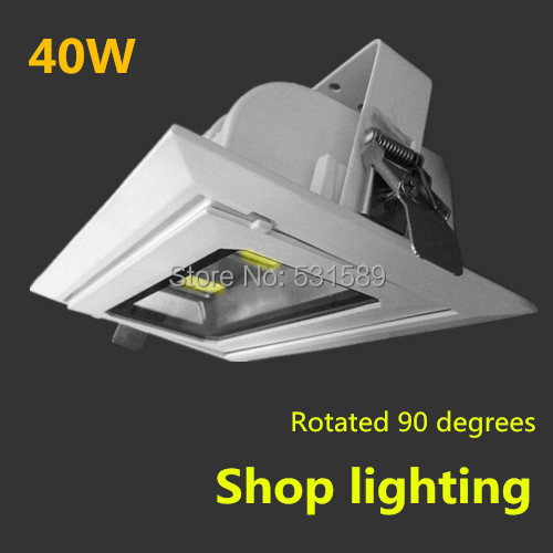 6pcs/lot Rectangular COB led downlight 40W Recessed Rotary Angle adjustable Focos Commercial Indoor lamp+LED Driver 110v230v недорго, оригинальная цена