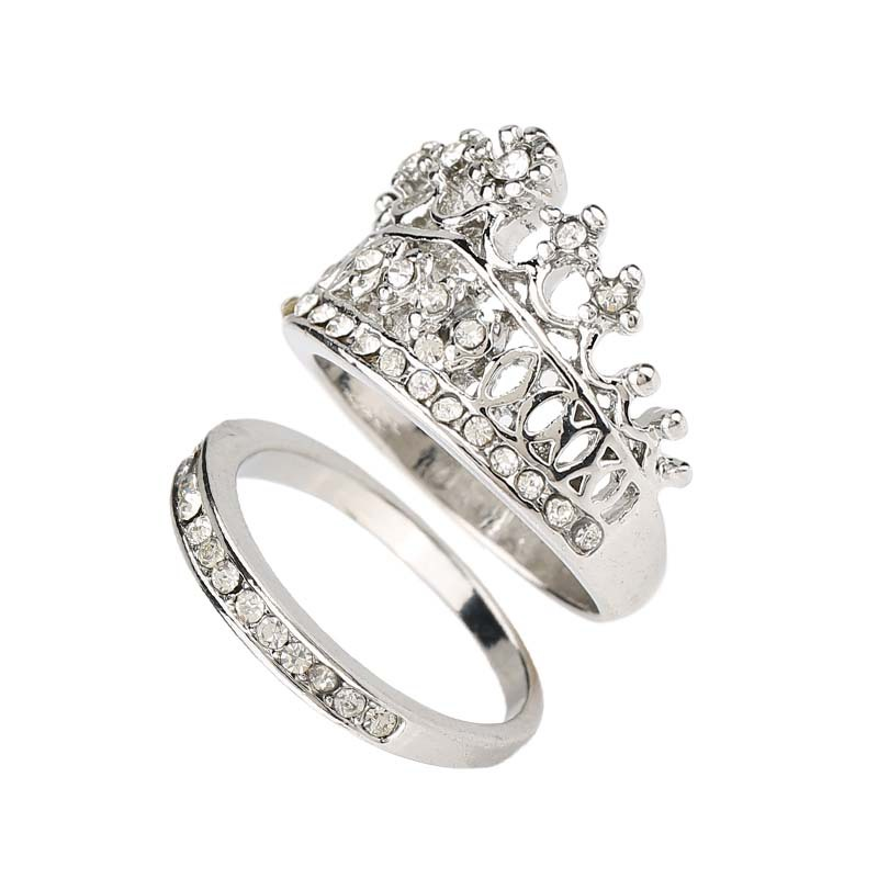 Корона Форма Свадебная пара Кольца для Для женщин с серебряным покрытием Мода 2016 г. его и ее обещание кольцо Наборы для ухода за кожей Ювелир...