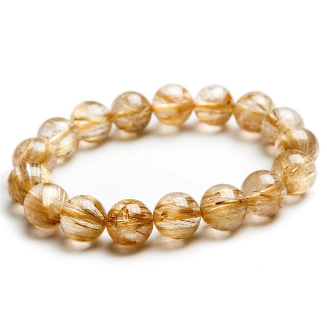 Moda estiramento pulseiras para as mulheres 13mm genuine natural titanium ouro quartzo rutilado grânulos de cristal homens jóias pulseira