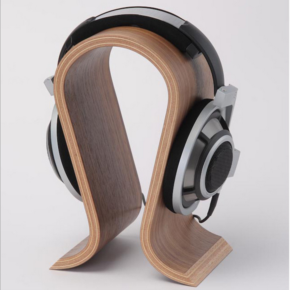 2018 wooden headphone stand u shape headphone holder classic walnut finish headset stand hanger for home office studio bedroom in earphone accessories from