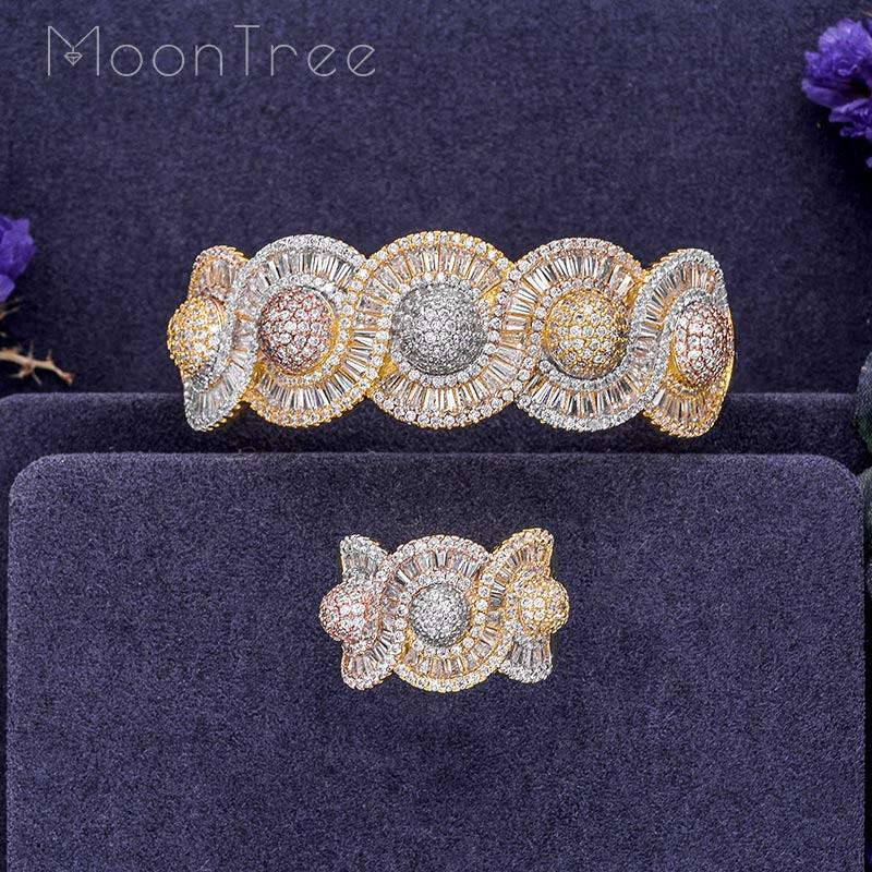 MoonTree Luxury Rhinestones Twist Shape Luxury Cubic Zircon 3 Tone Color Copper Wide Bangle Ring Fashion Jewelry Set