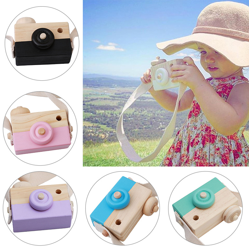 100% Genuine Cute Natural Wooden Toy Cameras Safe for Children Fashion Pink White Baby Clothing Accessory Birthday Gift