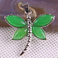Free Shipping Fashion Jewelry 28x31MM Natural Stone Green Agate Bead Dragonfly Pendant 1Pcs K1042