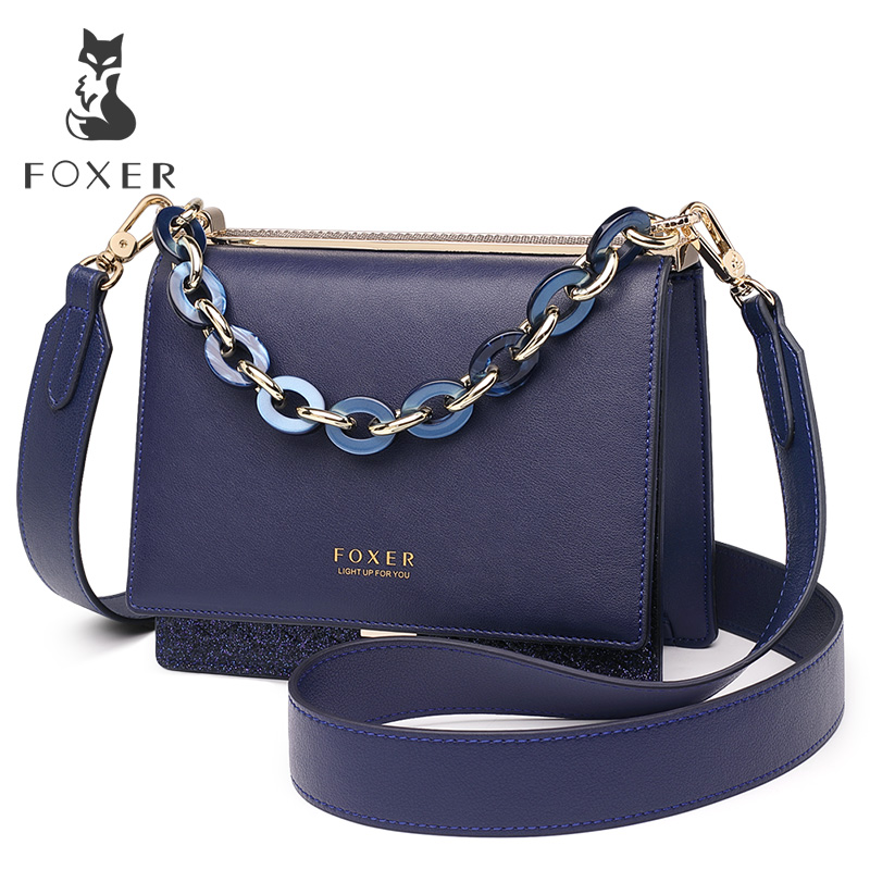 FOXER Brand Female Shoulder Bags Crossbody bag New Design Lady s Fashion Glitter Split Leather Bags