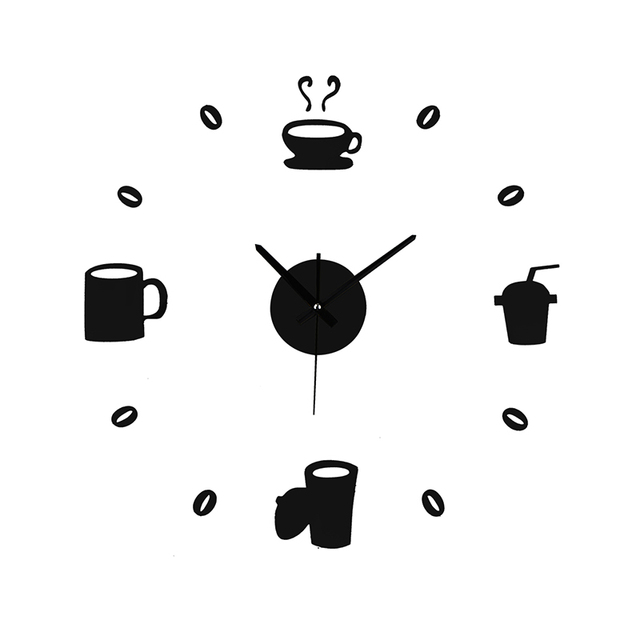 2018 Hot DIY Wall Clock Coffee Cup Shape Mirror Effect Clock Decorative Kitchen  Clocks Stickers Living
