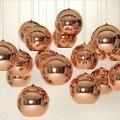 Modern cobre/tira/ouro máscara de lâmpada bola de vidro dentro do espelho pingente pingente de luz e27 lâmpada led home indoor lâmpada