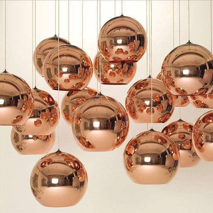 Modern Copper/Sliver/Gold Glass Ball Lamp Shade Inside Mirror Pendant Light  E27 Bulb