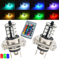 2pcs RGB Wireless Control H4 5050 27LED Decoration DRL Fog Light Bulbs Remote
