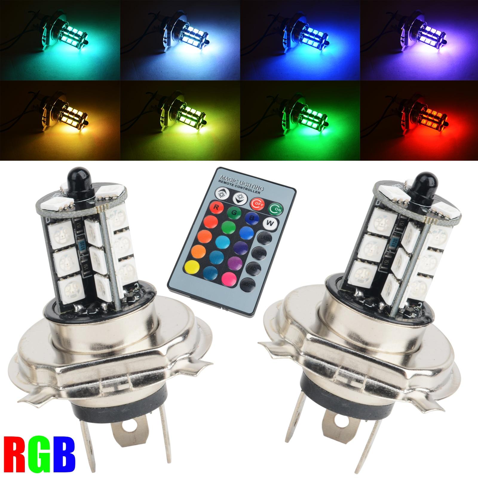 2pcs RGB Wireless Control H4 5050 27LED Decoration DRL Fog Light Bulbs+Remote