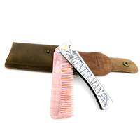 T 25 Customized Pink Acetate Teeth With Silver Stainless Steel Handle Folding Comb With Leather Bag