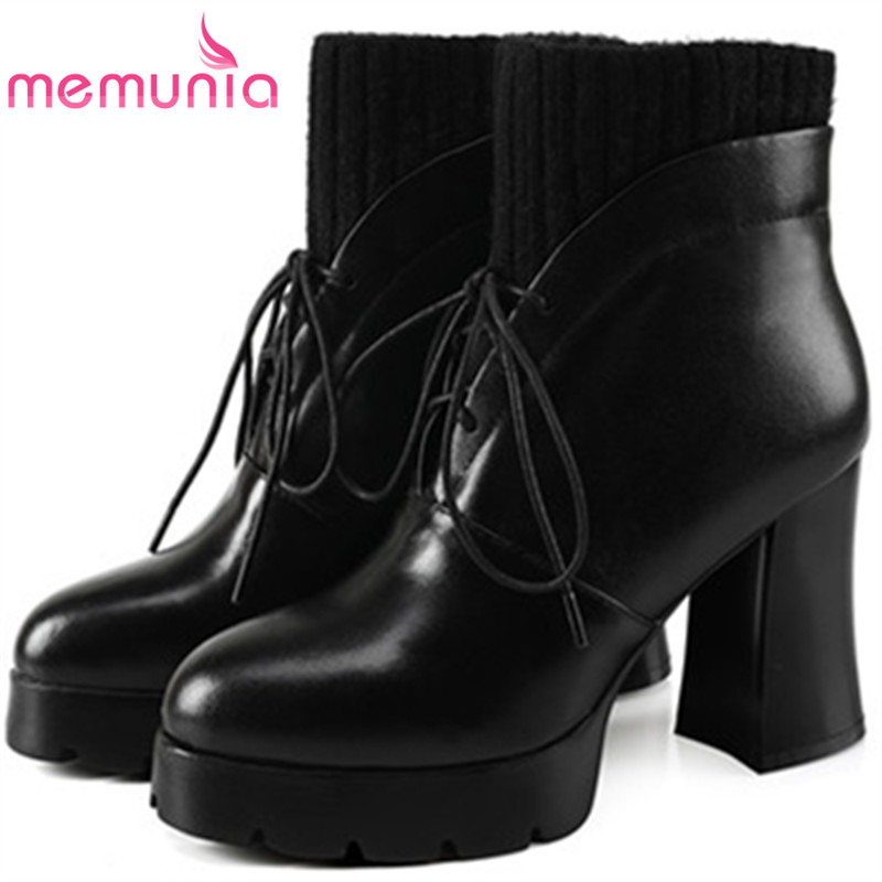 MEMUNIA Cow leather boots woman top quality ankle boots high heels shoes platform womens boots spring autumn black lace-up memunia cow leather boots woman top quality ankle boots high heels shoes platform womens boots spring autumn black lace up