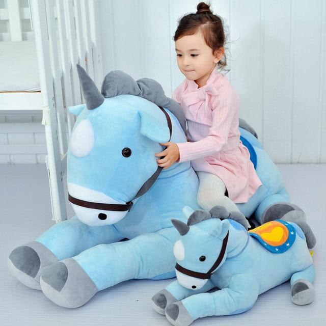 50 70cm Blue Unicorn Plush Toys Horse Stuffed Animal Soft Doll Home