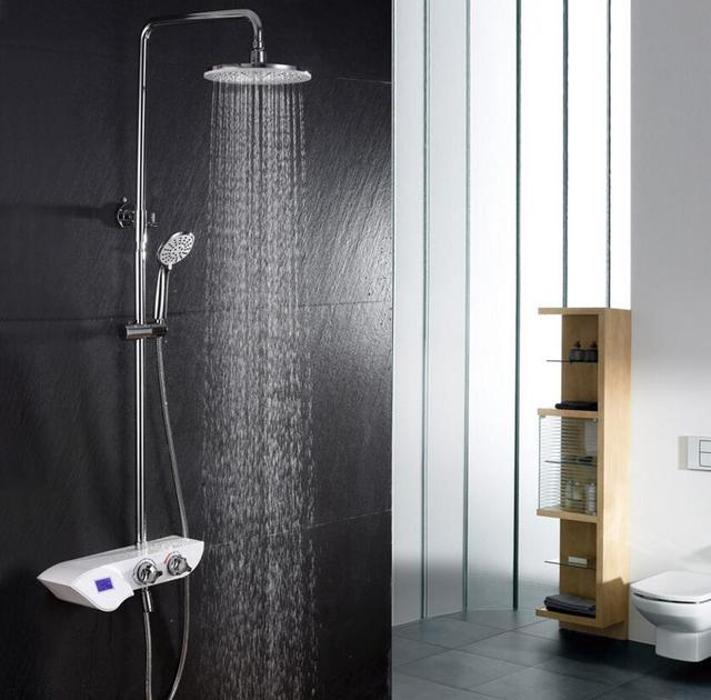 Digital Thermostatic shower set white bathroom bath mixer bath ...