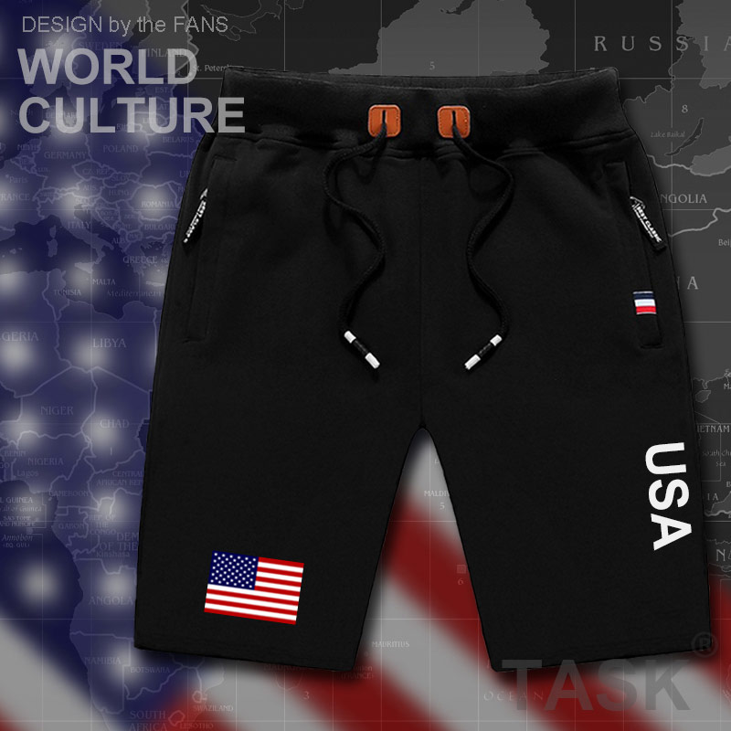 United States Of America USA US Mens Shorts Beach New Men's Board Shorts Flag Workout Zipper Pocket Sweat Bodybuilding 2017 New