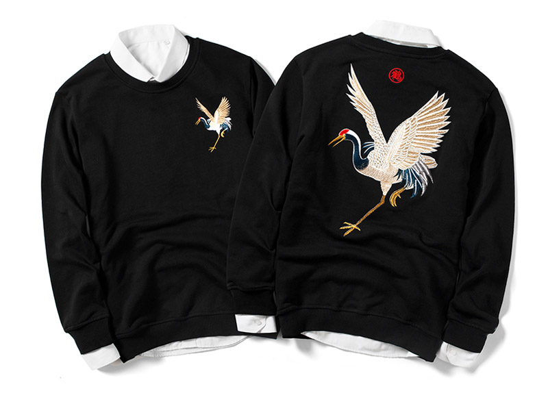 Japanese Crane Hip Hop Terry Crewneck Sweatshirt
