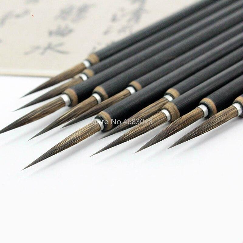 3 шт./компл., Медная головка, крючок, тонкая кисть для краски, китайская Ручка-кисть для каллиграфии, кисть для рисования, стационарная кисть д...