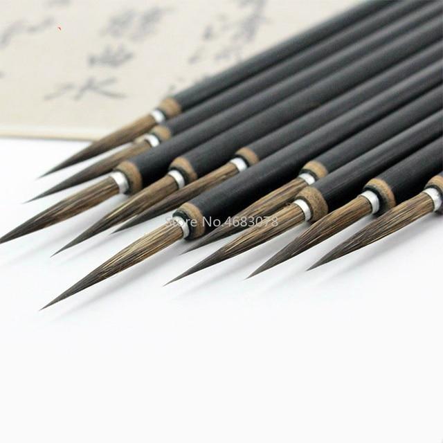3pcs/set Copper head Hook Line Fine Paint Brush Chinese Calligraphy Brush Pen Paint Brush Art Stationary Oil Painting Brush