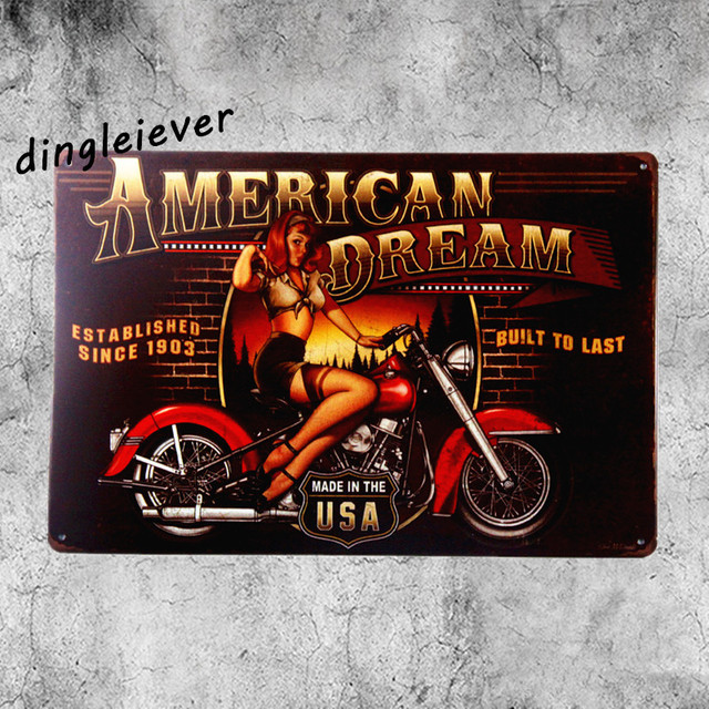 American dream pin up vintage metal sign USA rat rod stickers home ...