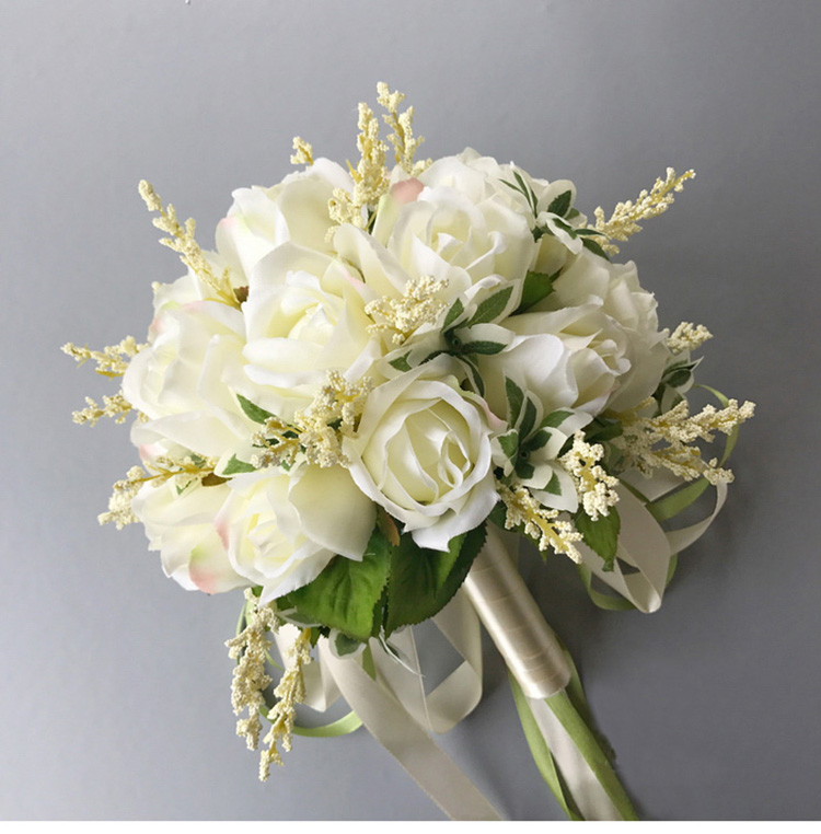 white pink silk flowers bridesmaids bridal Wedding Bouquets rose flowers (4)
