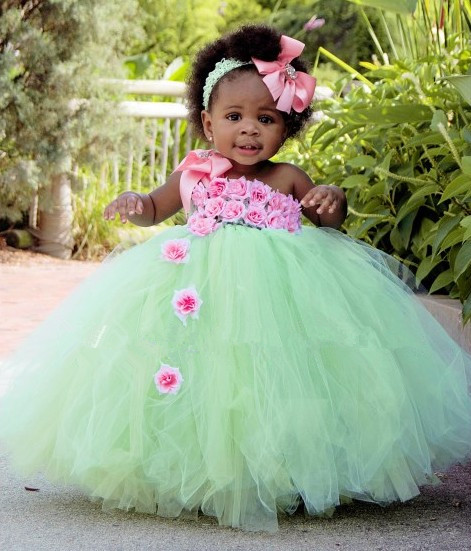 baby girl easter tutu dress mint green with pink rose girl