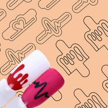 20 Tips/Sheet DIY Nail Vinyls Nail Art Manicure Stencil Stickers Stamp Template Decals Tool Nail Decoration Water Sticker