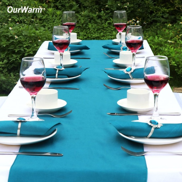 OurWarm Wedding Table Decoration Centerpieces Teal Blue Satin Table Runners  Napkins Chair Sash Bow Napkin Rings