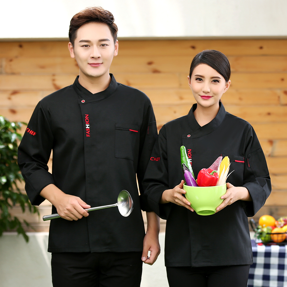 Newly Fashion Long Sleeve Chef's Jacket Restaurant Hotel Uniform Kitchen Unisex Barkey Work Clothes Men Cooker Coat Overalls
