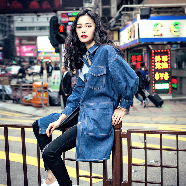 Womens Personalized Patchwork Jeans Clothing Streetwear Outerwear Clothing Medium Length Cool Denim Trench Coat Loose Style