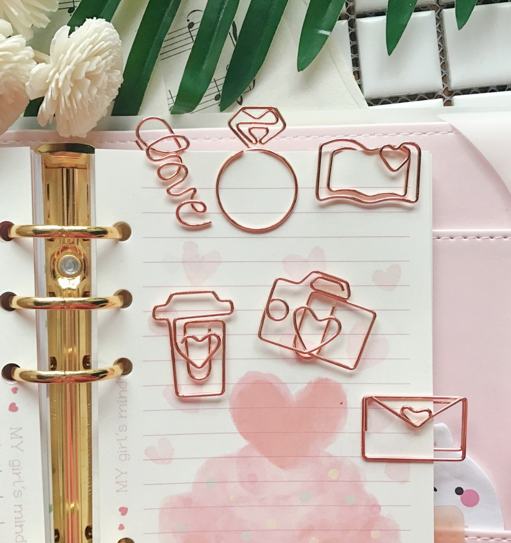 TUTU free shipping Rose Gold Paper Clips Bookmark Planner Tools Scrapbooking Tools Memo Clip Metal Binder Paperclip H0137 цена и фото